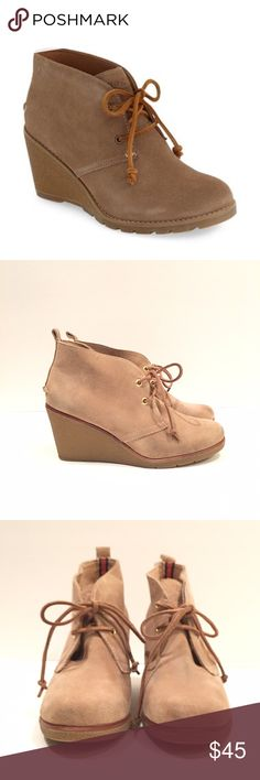 """Sperry 'Stella Prow' chukka style wedges So adorable AND comfortable! In good used condition. There is slight discoloration in areas on the suede from denim that I mostly cleaned off. Step up your style in this chukka-inspired bootie. With premium suede and rawhide lace trim, the Stella Prow Bootie is ready to go.  On-Trend Chukka Bootie Offered in Premium Suedes Rawhide Lacing with Rust Proof Eyelets for Secure Fit Cushioned Midsole for All Day Comfort Heel Height 3"""" Sperry Top-Sider Shoes…"""