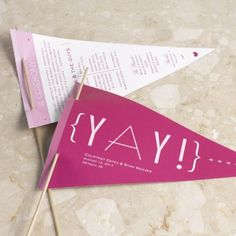 This pennant-shaped wedding program can be used at the conclusion of your ceremony for guests to cheer their approval - in Begonia. #PinkWedding #WeddingProgram #Whimsical #DavidsBridal http://www.invitationsbydavidsbridal.com/Wedding-Day-Collections/Cheers-to-Us-Collection/2947-DBP33458-Cheers-to-Us--Pennant-Program.pro?&sSource=Pinterest&kw=SoPinkinCute_DBP33458