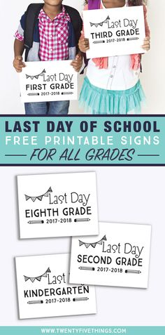 Last Day of School Chalkboard Signs (Free Printables for Every Grade) - Fun Loving Families Last Day Of School, School Days, School Stuff, School Countdown, School Chalkboard, Chalkboard Signs, School's Out For Summer, 4th Grade Reading, School Signs