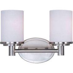 Maxim Lighting 9052SWSN Maxim 9052SWSN Cylinder 2-Light Bath Vanity in Satin Nickel with Satin White glass.