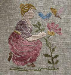0 point de croix femme fleurs papillons - cross stitch lady flowers butterflies Bargello, Le Point, Stitching, Cross Stitch, Kids Rugs, Babies, Embroidery, My Love, Cards