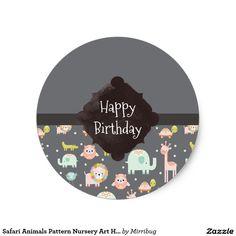 Safari Animals Pattern Nursery Art Happy Birthday Stickers