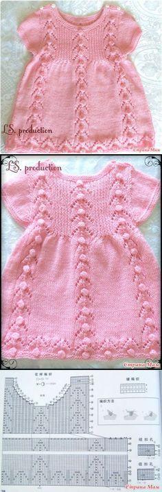 Вязаное платье для малышки из пряжи Детский Каприз...