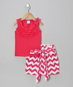 Take a look at this Hot Pink Ruffle Tank & Zigzag Skirt - Infant, Toddler & Girls by Tutus by Tutu AND Lulu on #zulily today!