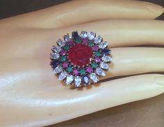 Sterling Statement Cocktail Ring Ruby Emerald by LynnHislopJewels