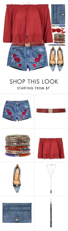 """""""Bare Shoulders"""" by grozdana-v ❤ liked on Polyvore featuring H&M, Maison Boinet, Amrita Singh, Topshop, Dsquared2, Natalie B, Alexander McQueen, Barry M and Benefit"""