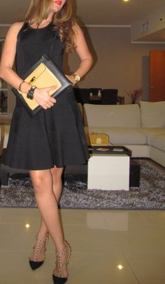 Ribbed skater dress by Milly, Valentino Rockstud shoes