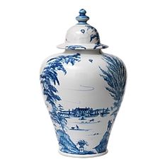 Country Estate Delft Blue Tall Ginger Jar by Juliska Dreamy, pastoral scenery and a refined silhouette bring a versatile joie de vivre to your decor. Timeless in delft blue and white, put a pair in your entry hall and fill with cherry blossoms ever Blue And White China, Blue China, Keramik Vase, Ceramic Jars, Spice Jars, Country Estate, Ginger Jars, White Decor, White Art