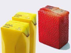Embalagens realistas de suco por Naoto Fukasawa