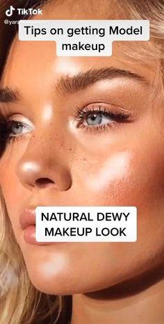 Dewy Makeup Look, Skin Makeup, Eyeshadow Makeup, Highlighter Makeup, Strobing Makeup, Contour Makeup, Makeup Brushes, Model Makeup Tutorial, Maquillage On Fleek