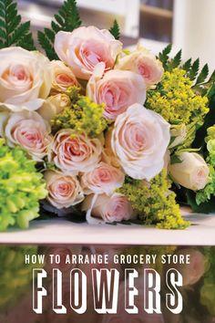 How to Arrange Grocery Store Flowers via @PureWow