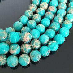 U Pick Natural Turquoise Blue Sea Sediment Jasper Gemstone Loose Beads Jasper Gemstone, Gemstone Beads, Blue Beads, Turquoise Bracelet, Sea, Gemstones, Pattern, Color, Etsy
