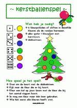 Kerstballenspel - dobbelsteen gooien en kleuren. Bij dit spel horen kleurplaten van de boom.