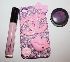 Swarovski Pink Lips Pink Chanel Iphone 4/4s Case by slave2beauty, $75.00