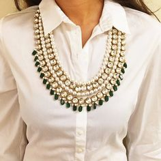 The Western Classic: Our #PearlAndGreenNecklace with a Crisp White Shirt!  We love how easily the necklace instantly dresses up the look!  #Prerto  #Luxury #Fashion #Style #Trend #Statement #Western #Jewelry #Necklace