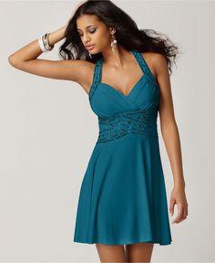Hailey Logan Dress, Sleeveless Sweetheart Beaded Sequin Empire Crisscross A-Line