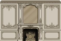 Hand carved French style fire mantel and mirror - hand carved panels.Design by Agrell Architectural Carving