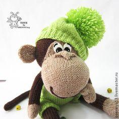"""Мастер-класс """"Озорная обезьянка"""" - коричневый,вязание спицами,вязаная игрушка"""