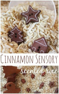 Cinnamon sensory scented rice! A great sensory bin for toddlers and preschoolers in the holiday season! #preschoolsensory #cinnamonsensory