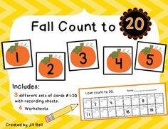 Fall Count to 20 includes a Math Center Activity and Worksheets to reinforce counting and number order to 20.