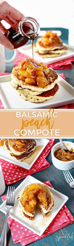 Jazz up plain French toast, pancakes or waffles by adding Balsamic Peach Compote! This sweet-tangy compote makes the perfect summer breakfast topping. #recipe