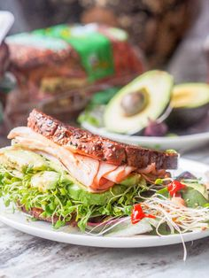 """The best turkey, avocado, alfalfa and arugula sandwich youll ever eat. Topped with a spicy Sriracha Aioli. Lunch is served. Gluten Free + Dairy Free too. Thank you Oscar Mayer for sponsoring this post. Healthy Sandwiches, Turkey Sandwiches, Wrap Sandwiches, Fast Metabolism Recipes, Fast Metabolism Diet, Dog Recipes, Healthy Recipes, Sandwich Recipes, Free Recipes"