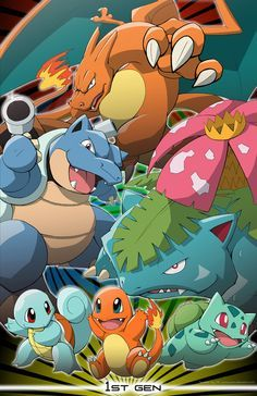 Pokemon Generation artwork by Mrs. Ray Peoples qualities of character + ability presented with art Charizard Pokemon, Mega Pokemon, Bulbasaur, Cool Pokemon Wallpapers, Cute Pokemon Wallpaper, Festa Pokemon Go, Pokemon Facts, Equipe Pokemon, Pokemon Starters