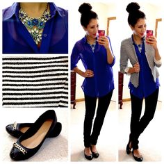 *blue blouse + blue AT necklace + stripe blazer + black pants + black // Hello, Gorgeous!