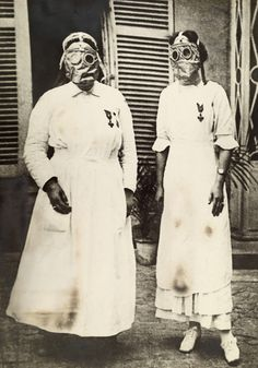 American nurses in gas masks at a WWI front line U.S. Army hospital in France ~