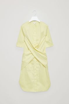 COS image 2 of Tie-back shirt dress in Yellow