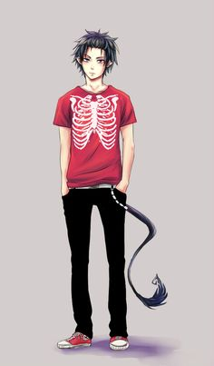 Rin Okumura w/ red rib cage tshirt | Ao no Exorcist / Blue Exorcist | anime