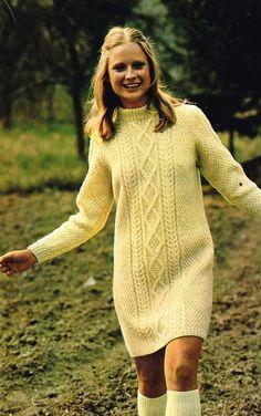 VCP238 ladies aran dress vintage knitting pattern by Ellisadine, £1.15