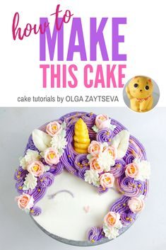 How to make a Magical Unicorn Birthday cake - Cake decorating tutorial by Olga Zaytseva. Learn how to make this really trendy Magical Unicorn Birthday cake. #cakedecorating #cakedecoratingtutorial #unicorncake #buttercreamflowers