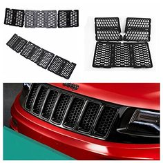 Danti Latest Honeycomb Matte Mesh Front Grill Grille Inserts Cover Kit 7 pc for Jeep Grand Cherokee 2014 2015 2016 (Black) Jeep Grand Cherokee Accessories, Wrangler Accessories, Grill Accessories, Jeep Compass Accessories, Jeep Wk, 2013 Jeep Grand Cherokee, Jeep Mods, Front Grill, Cool Jeeps