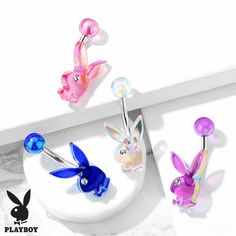 Playboy Bunny AB Effect Acrylic with Clear Gem Eye Belly Navel Ring Select Color Belly Button Piercing Jewelry, Bellybutton Piercings, Cute Piercings, Body Piercings, Tongue Piercings, Rook Piercing, Cute Belly Rings, Belly Button Rings, Dangle Belly Rings