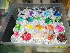 Copic Marker storage using 2 inch PVC pipe cut  at 5 inches long.  Holds 11 sketch markers.