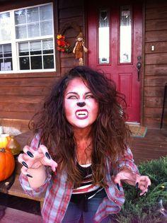 Werewolf girl costume - make-up Girl Werewolf Costume, Werewolf Makeup, Werewolf Girl, Wolf Costume Women, Teenage Werewolf, Halloween Looks, Halloween Costumes For Girls, Girl Costumes, Happy Halloween