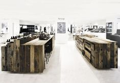 Beautifully crafted cabinet installation made from naturally aged timber from chinese boats for the aesop shop, Hong Kong by chinese/german architecture firm cheungvogl. German Architecture, Interior Architecture, Wooden Architecture, Commercial Design, Commercial Interiors, Retail Interior, Interior And Exterior, Modern Interior, Aesop Shop