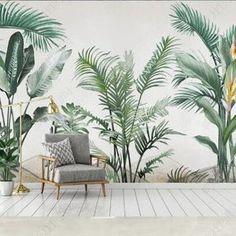 Watercolor Tropical Rainforest Banana Leaves Wallpaper | Etsy Green Leaf Wallpaper, Wallpaper Wall, Plant Wallpaper, Custom Wallpaper, Bedroom Wallpaper, Tropical Wallpaper, Watercolor Wallpaper, Banana Leaves Wallpaper, Plants Watercolor