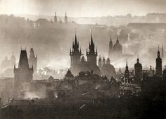 Prague, by the famous Czechoslovak photographer, Karel Plicka. Old Photography, Street Photography, Prague Czech Republic, Renaissance Era, Most Beautiful Cities, Amazing Places, Night City, Black And White Photography, Old World