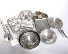 Vintage Kitchen Toys, 12 Pieces of Pretend Play Kitchen Baking Utensils 2 Muffin Tins 4 across Bundt Pan 4 across Spatula & Spoon 7 long Backing Sheet 4