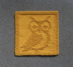 Knit Dishcloth OWL GHO. Hand Knitted Unique by AuntSusansCloset. Mr. Owl has already found a new home!