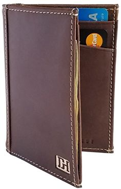 Dapper Hide Mens Slim Leather Bifold Wallet  Gift Box Included  The Gordon Brown Leather  Tan Thread -- Learn more by visiting the image link.
