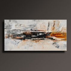 "48"" Large ORIGINAL ABSTRACT Brown Gray Black White Painting on Canvas…"