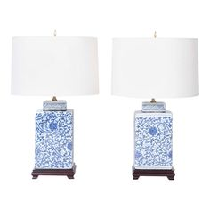 Lofty pair of Chinese porcelain table lamps with a square ginger jar form and decorated in lush floral designs and presented on mahogany bases. White Porcelain, Blue Lamp, Lamp, Modern Table Lamp, Blue And White, Contemporary Table Lamps, Porcelain, Ginger Jar Lamp, White Table Lamp
