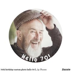 birthday custom photo hello 70 for guys paper plate Paper Napkins, Paper Plates, 70th Birthday Parties, Personalized Plates, Custom Plates, Cake Servings, Party Tableware, Party Photos, Custom Photo