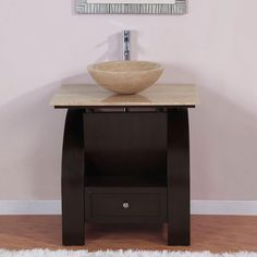 This unique vanity is simple yet full of character. This unique modern single sink vessel vanity with travertine stone vessel bowl will surely be the focal point in any bathroom design. 30 Inch Bathroom Vanity, Bathroom Sink Bowls, Vessel Sink Bathroom, Bathroom Ideas, Small Bathroom, Oak Bathroom, Bathroom Makeovers, Bath Ideas, Bathroom Remodeling
