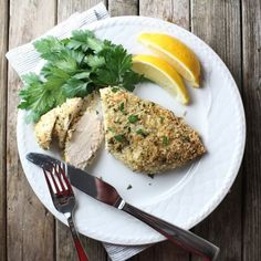 Parmesan Crusted Chicken: Easy enough for a weeknight but elegant enough for entertaining! Baked in lemon garlic, breadcrumbs, Parmesan, & fresh parsley. Chicken Menu, Chicken Recipes, Great Recipes, Favorite Recipes, Recipe Ideas, Dinner Recipes, Good Food, Yummy Food, Yummy Yummy
