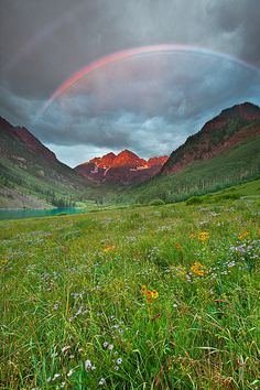 ~~Stormy Sunrise - Maroon Bells - Colorado ~ rainbow at sunrise by wboland~~