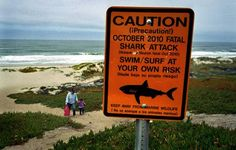 A shark warning sign along Surf Beach near Lompoc, California, at Vandenberg Air Force Base.  Always check local conditions at any beach before swimming, boating etc.  This particular beach is prone to shark sightings and encounters.  Most beaches are perfectly safe though.